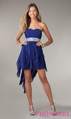 High Low Strapless Dress at PromGirl.com (purple)