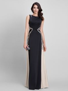 TS Couture® Formal Evening Dress Sheath / Column Bateau Floor-length Jersey with Appliques - USD $149.99