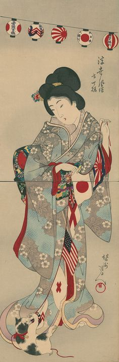 """""""Beauty with a Cat playing with a String of flags"""" by Chikanobu, 1905"""