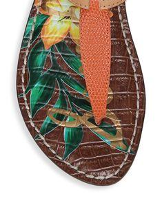 5e4f55609 Sam Edelman Gigi Lizard Print Floral Leather Thong Sandals - Tangelo 9.5