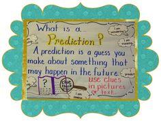 Making Predictions - A Kindergarten Lifestyle Kindergarten Anchor Charts, Reading Anchor Charts, Teaching Kindergarten, Teaching Ideas, Student Teaching, What Is A Prediction, Prediction Anchor Chart, Comprehension Strategies, Reading Strategies