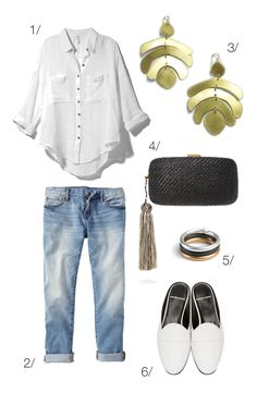 classic and casual style with on trend accessories: jeans, a white button down, statement earrings, and slide mule loafers // click through for outfit details