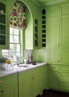 Fabulous butler pantry. Green and Pink Kitchen Designed by Katie Rosenfeld in Atlanta http://hookedonhouses.net/2015/08/03/kitchen-crush-going-for-the-green/