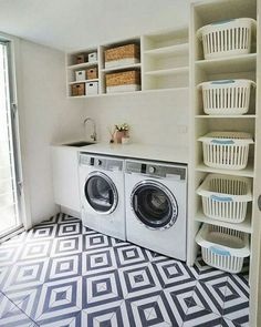Laundry room storage ideas include installation of stock cabinetry, racks, shelves, etc. in a smart way to make the room look elegant and organized. room ideas organization 15 Perfect Small Laundry Room Storage Ideas To Consider 2 Modern Laundry Rooms, Laundry Room Layouts, Laundry Room Remodel, Laundry Room Cabinets, Basement Laundry, Farmhouse Laundry Room, Laundry Room Organization, Laundry Storage, Organization Ideas