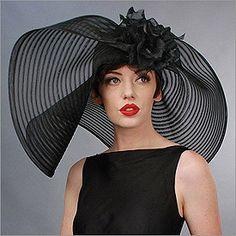 Off Face Floppy, horse hair, black Look Retro, Look Vintage, Lady, Fancy Hats, Silly Hats, Kentucky Derby Hats, Church Hats, Wearing A Hat, Wedding Hats