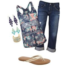 navy teal and gold casual by bayelle on Polyvore featuring Full Tilt, AG Adriano Goldschmied, Banana Republic and Kendra Scott