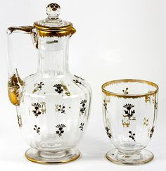19th Century French Carafon and Timbale, Daum Crystal.