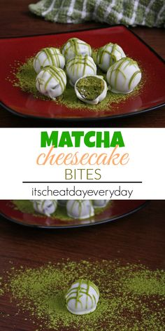 """Matcha Cheesecake Bites. So I've decided that it's acceptable to consider anything with matcha in it as healthy, so we're gonna go ahead and call these """"healthy"""" matcha cheesecake bites. These are so good it'll almost be a sin to only eat one!"""