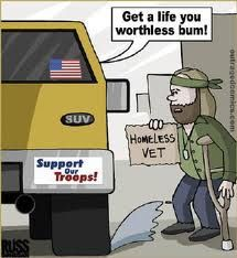 I was shocked when I read about how badly US vets are treated. I'm not saying it's hugely better in the UK but I get the feeling that it is - after all we have free health care!