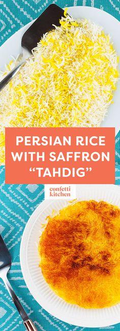 Persian Rice with Saffron Crispy Tahdig // gluten-free, vegetarian, dairy-free