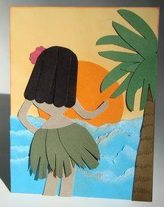 Qbee's Quest, hula girl punch art
