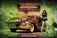 """High School Hellride"" Grindhouse / Russ Meyer inspired filmposter starring Clare Von Stitch (2015) 