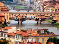Built over the Arno River, the Ponte Vecchio (Old Bridge) is the only remaining bridge in the city that was built during the 1300s. The others were destroyed during World War II. Ponte Vecchio is lined with shops that sell jewelry, art and souvenirs.