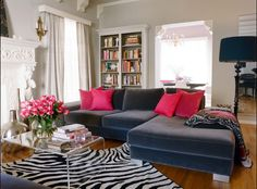 Black, Pink, and Zebra living room. LOVE it