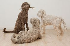Dogs in Art at the StockBridge Gallery - Seated Mop Dog Sculpture by Dominic Gubb, Sold but other similar dogs can be ordered. If ordering for a special occasion please allow plenty of time. Textile Sculpture, Dog Sculpture, Animal Sculptures, Textile Art, Wire Sculptures, Mop Dog, Chicken Wire Sculpture, Dog Anatomy, Dog Poses