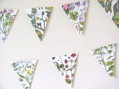 Flowers mini bunting ~ Wild flowers of British Isles garland ~ Upcycled eco-friendly banner ~ Wedding, Tea Party, Anniversary ~ FREE UK P&P