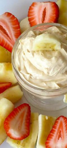 Skinny Peanut Butter-Yogurt Dip Recipe - so delicious!  I love to serve it to the kids.  #kidfriendly #peanutbutter #recipe