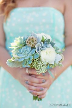 succulents, mint, polka dots!! oh my we are so in love with this combination! to see more of the darling things that Katelin Wallace Photography has captured take a peek here. http://www.weddingchicks.com/vendor-guide/katelin-wallace-photography-2/