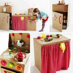 Cocina completa para que los chicos se diviertan realizada 100% con materiales reciclados. Kids Crafts, Projects For Kids, Diy For Kids, Diy And Crafts, Diy Projects, Cardboard Kitchen, Cardboard Toys, Play Kitchen Diy, Diy Kitchens