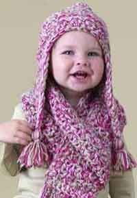 Speed Hook Earflap Hat http://www.lionbrand.com/media/patterns/crochet-pattern-speed-hook-earflap-hat-and-scarf-set-60422.pdf