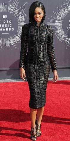 MTV VMAs 2014: Chanel Iman in Balmain was one of my fav looks tonight at the VMAs. Sleek, sexy, modern and chic. #VMA2014 #RedCarpet