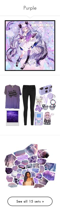 """Purple"" by una-personita ❤ liked on Polyvore featuring art, Yves Saint Laurent, Holga, Linda Farrow, Hello Kitty, purple, emo, Punk, deathmetal and ...Lost"