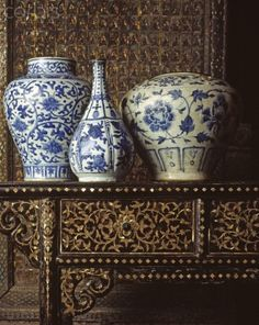 Blue and white Porcelain pieces.  Art Collection from Jim Thompson House, Bangkok, Thailand.