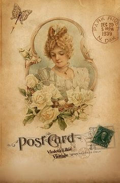 Violeta lilás Vintage: Cartões Postais Antigas Damas