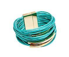 Браслет - вощеный шнур - бирюзовый - Д20 см