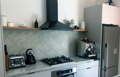 Check out our 10 Best Kitchen Splashback ideas and be inspired to update yours. Open Shelving, Shelves, Cool Kitchens, Tiles, Kitchen Cabinets, Splashback Ideas, Rose Bay, Laundry, Bathroom