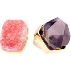 Justfab Ring Gorgeous Geode Rings Womens Multi Size 7 ($40) ❤ liked on Polyvore featuring jewelry, rings, multi, geode jewelry, geode ring, sparkle jewelry, justfab et planet rings