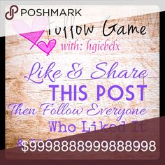 FOLLOW GAME 💕 Hi! Thanks you to everyone for your support! Let's grow together :) Like, comment, share & tag 3 friends in this post. Please be sure to like and follow everyone who likes this post. Be sure to check back often to follow new likes! HAPPY GROWING! Other