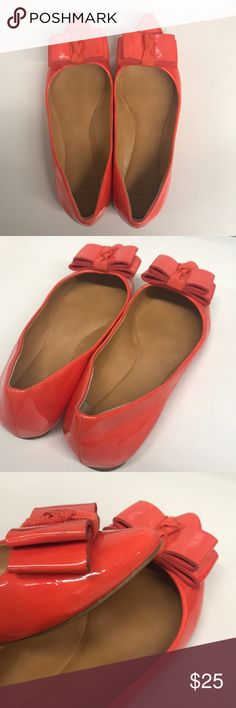 Kate Spade Bow Ballet Flats Hello All!  It's Kate Spade  Orange patent  bow flats.   Product conditions:  Overall good   There is wear and tear from normal wear. (please see pictures)  Side notes: it doesn't come with original box  Thank you! kate spade Shoes Flats & Loafers