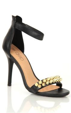 Deb Shops single strap high heel with #gold #spikes and ankle strap  $34.90