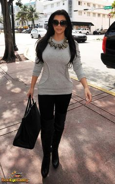 Kim Kardashian Style  - a standard pear outfit, black jeggings and an embellished tee/sweatshirt up top!