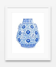 Framed Blue and White Chinese Lotus Vase Giclee – The Pink Pagoda