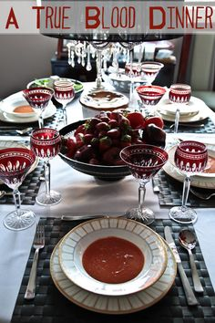 true blood dinner party  + LOVE her idea for fake fangs! Awesome!!