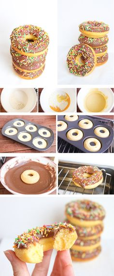 Donuts caseros con cobertura de chocolate Donut Recipes, Cake Recipes, Dessert Recipes, Pan Dulce, Mini Donuts, Chocolate Donuts, Creative Food, Cakes And More, Macarons