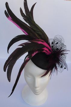 Black fascinator black head piece black and pink by TocameMika