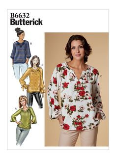 Buy the Butterick Tops sewing pattern; these very loose-fitting pullover tops, in four styles, have shaped neckbands and raglan sleeves. Vogue Patterns, Dress Patterns, Clothing Patterns, Patron Simplicity, Patron Butterick, Blouse Ample, Maternity Patterns, Sewing Blogs, Sewing Ideas