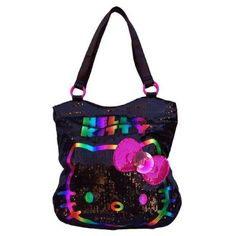 Amazon.com: Hello Kitty Sequin Purse Tote Bag With Rainbow Hello Kitty And Pink Bow With Gem: Clothing