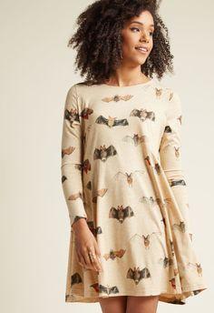 Pepaloves Bat'll Do Long Sleeve Shift Dress