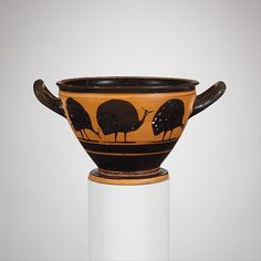 Terracotta skyphos (deep drinking cup) | Greek, Attic | Archaic | The Met