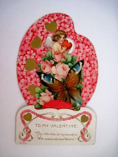 Charming Vintage Pop-Out Valentine Card w/ Paint Palette, Butterfly and Cupid   picclick.com