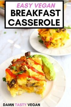 Tired of oatmeal? Here's a savory and easy vegan breakfast or brunch idea: vegan breakfast casserole. This is a similar recipe to an egg bake. Healthy and delicious and high in protein. #breakfast #vegan #savory #easy Vegan Brunch Recipes, High Protein Vegan Recipes, Healthy Vegan Desserts, Delicious Vegan Recipes, Vegan Snacks, Easy Healthy Recipes, Whole Food Recipes, Vegan Weeknight Meals, Vegan Meal Prep