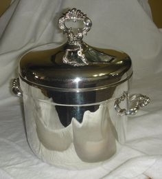 F B Rogers Silver Plated Ceramic Lined Iced Bucket with Lid, Ornate and Lovely! #FBRogers