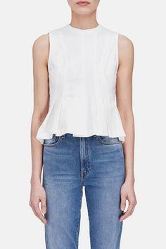T by Alexander Wang — Stiff Cotton Jersey Sleeveless Peplum Top   White — THE LINE