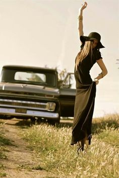 I can tell what I notice more, this chica's great style or that amazing ride behind her