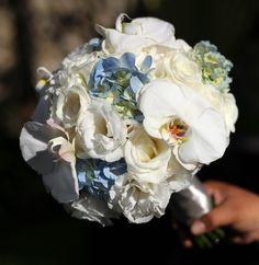 White Lisianthus, Blue Hydrangea, White Phaleonopsis and White Avalance