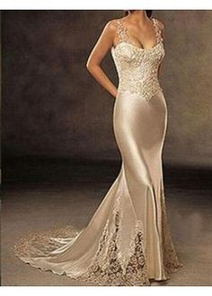 Junoesque Stunning Stretch Satin Mermaid Dress  - flowing elegant feminine beige lace silky